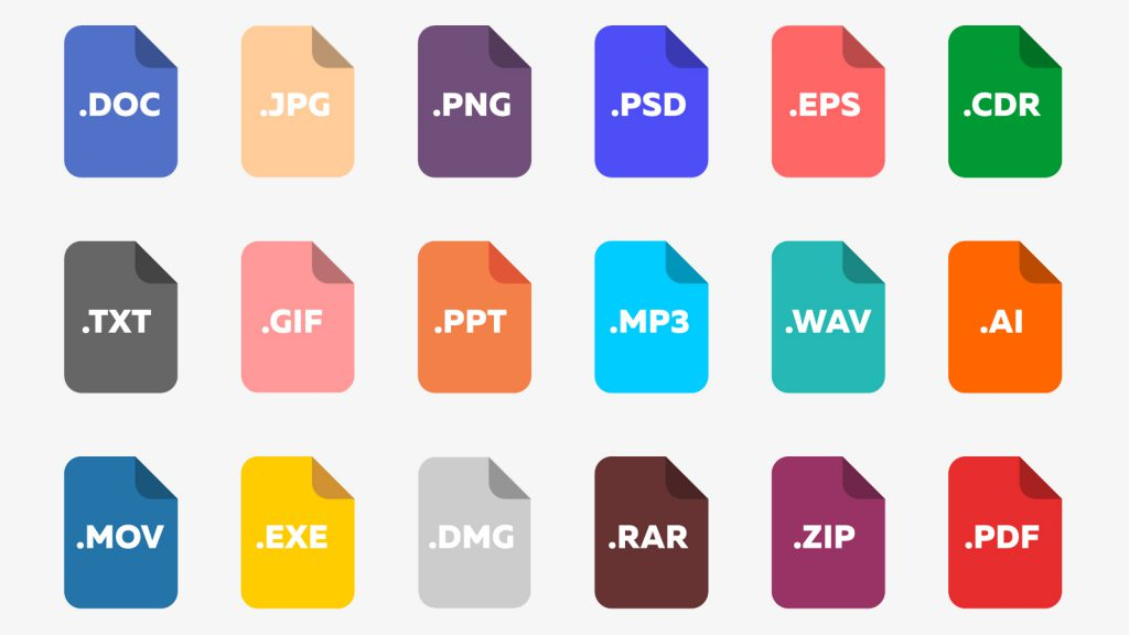 There are five common file formats: PDF, PNG, SVG, EPS and JPG.